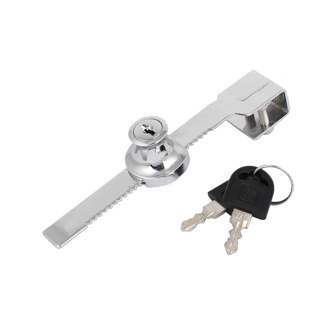 Cabinet Showcase Sliding Glass Door Lock Locker Silver Tone 140x23x24mm