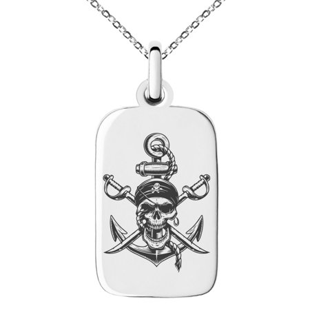Pirate Swords Pendant (Stainless Steel Pirate Skull Anchor & Cross Swords Engraved Small Rectangle Dog Tag Charm Pendant Necklace)