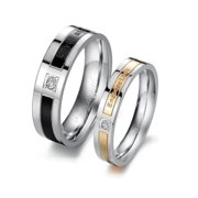 ES Jewel GJ145B5 Stainless Steel Endless Love Lover Rings - Size 5, Womens