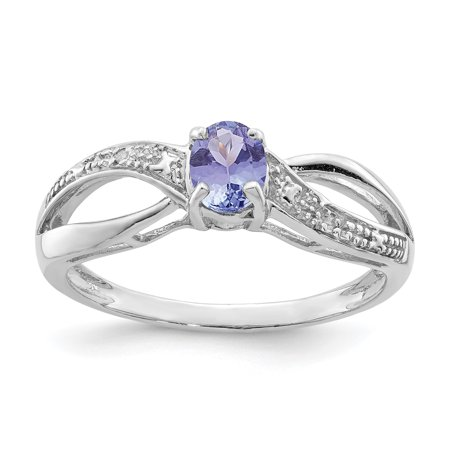 Sterling Silver Rhodium Plated Diamond & Tanzanite Ring/CT (Sterling Silver Turquoise Stone Ring)