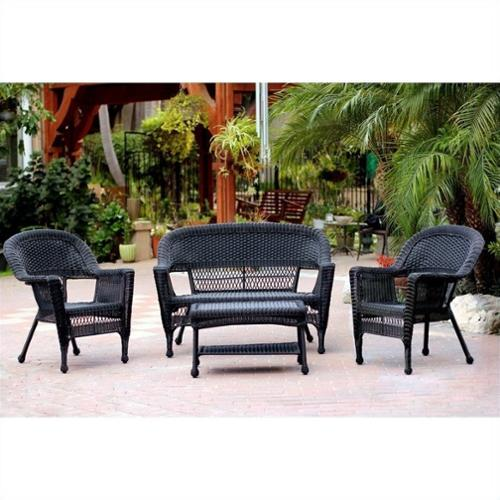 Jeco 4pc Wicker Conversation Set in Black