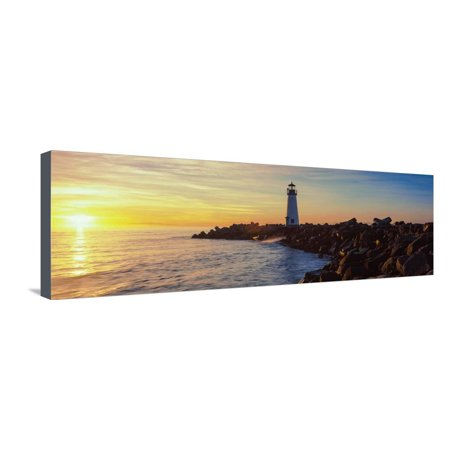 Panoramic Canvas Prints (Lighthouse on the Coast at Dusk, Walton Lighthouse, Santa Cruz, California, USA Stretched Canvas Print Wall Art By Panoramic Images)