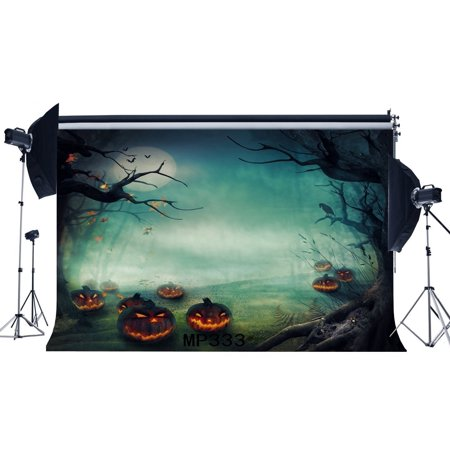 HelloDecor Polyster 7x5ft Photography Backdrop Halloween Horror Night Mysetrious Moon Forest Pumpkin Old Tree Scene Masquerade Portraits Background Photo Studio Prop (Universal Studios Halloween Horror Nights)