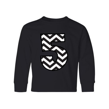 5th Birthday Number 5 Chevron Youth Long Sleeve T Shirt