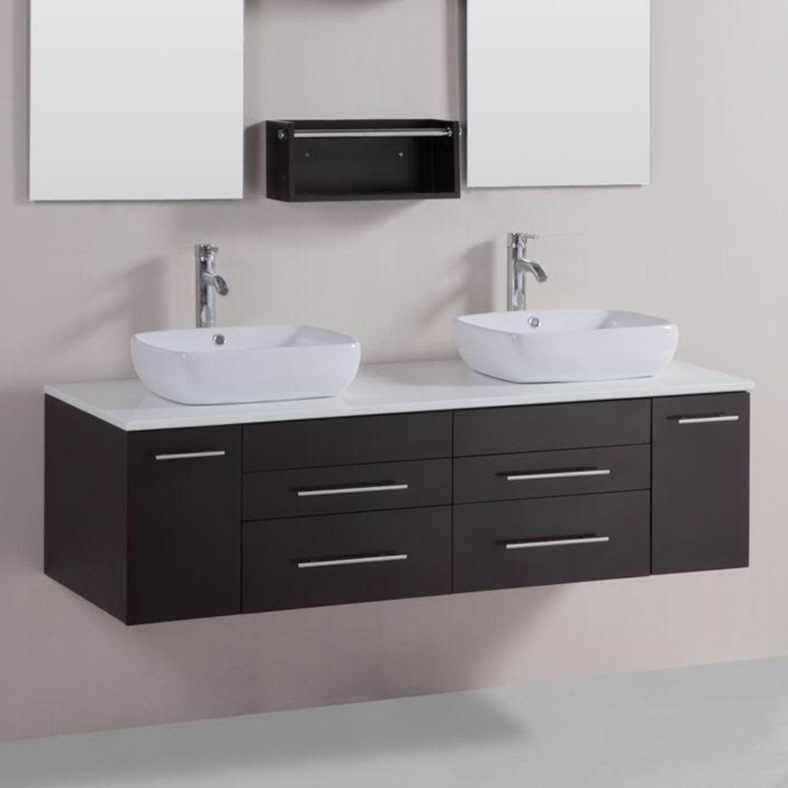 Modern Double Vessel Bathroom Vanity With Stone Top