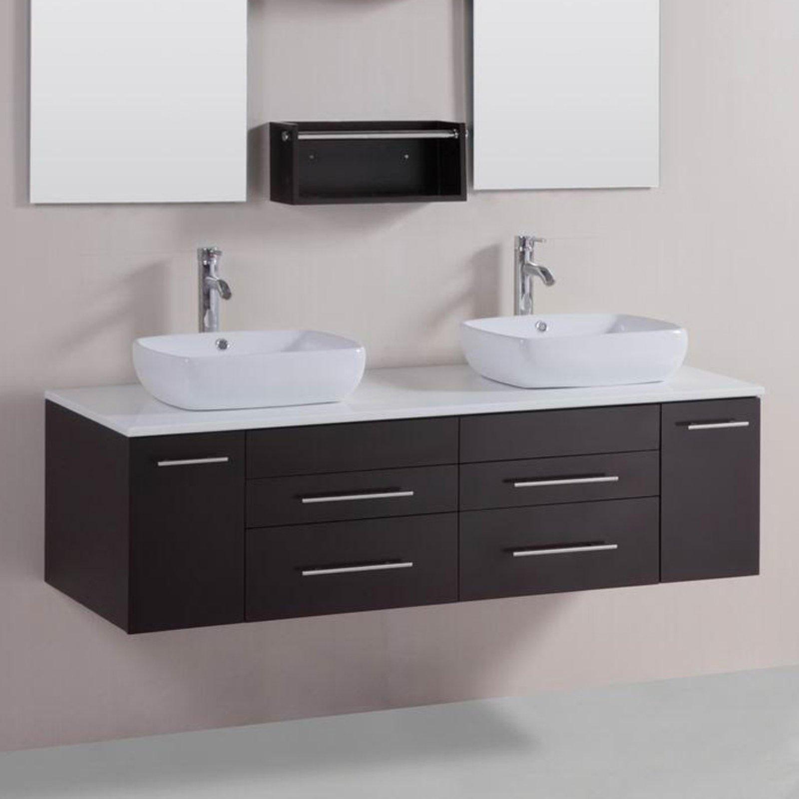Belvedere 60 in. Modern Double Vessel Bathroom Vanity with Stone Top