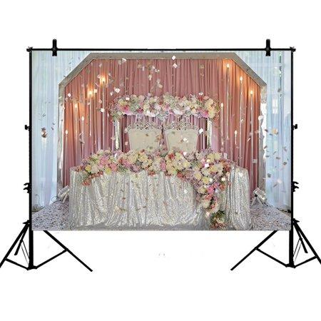 GCKG 7x5ft Roamntic Flowers Decor Party Wedding Candles Curtain Bride Children Baby Kids Portraits Polyester Photography Backdrop Studio Prop Photo Background - image 4 de 4
