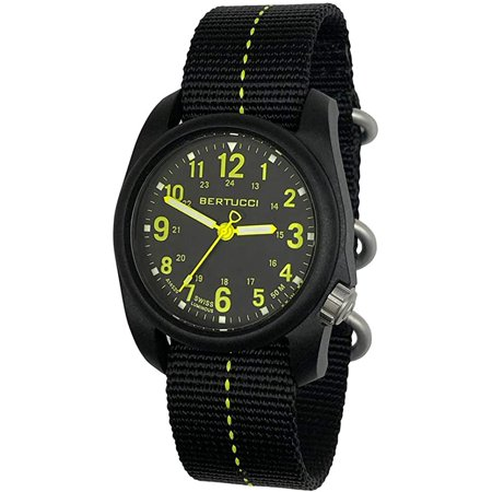 Bertucci DX3 Plus Black Hi-Viz Yellow Dash Nylon Strap 40mm Black Field Watch
