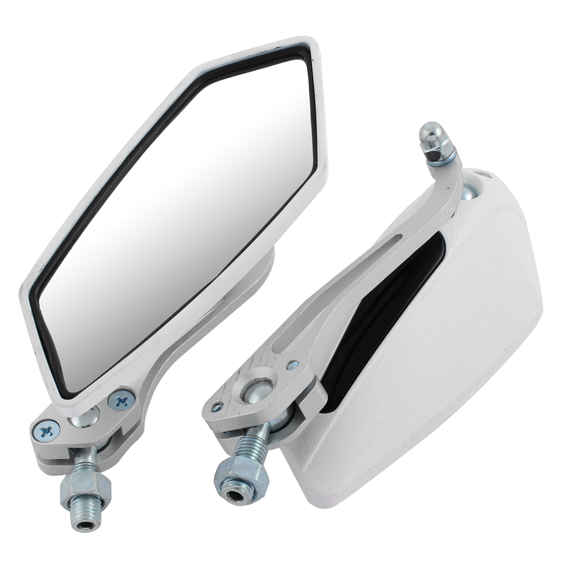 Unique Bargains Pair White Casing Wide Angle Rearview Blind Spot Mirror for Motorcycle