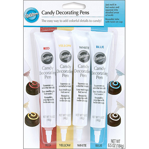 Wilton Candy Decorating Pens, Red, Yellow, White & Blue 1.25 oz., 4 ct. 1914-1285