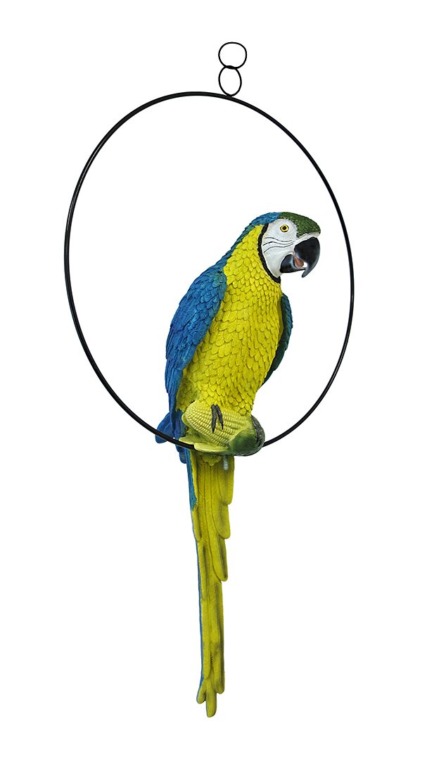 Bright Blue and Yellow Tropical Hanging Parrot on Ring Sculpture by Mayrich Company