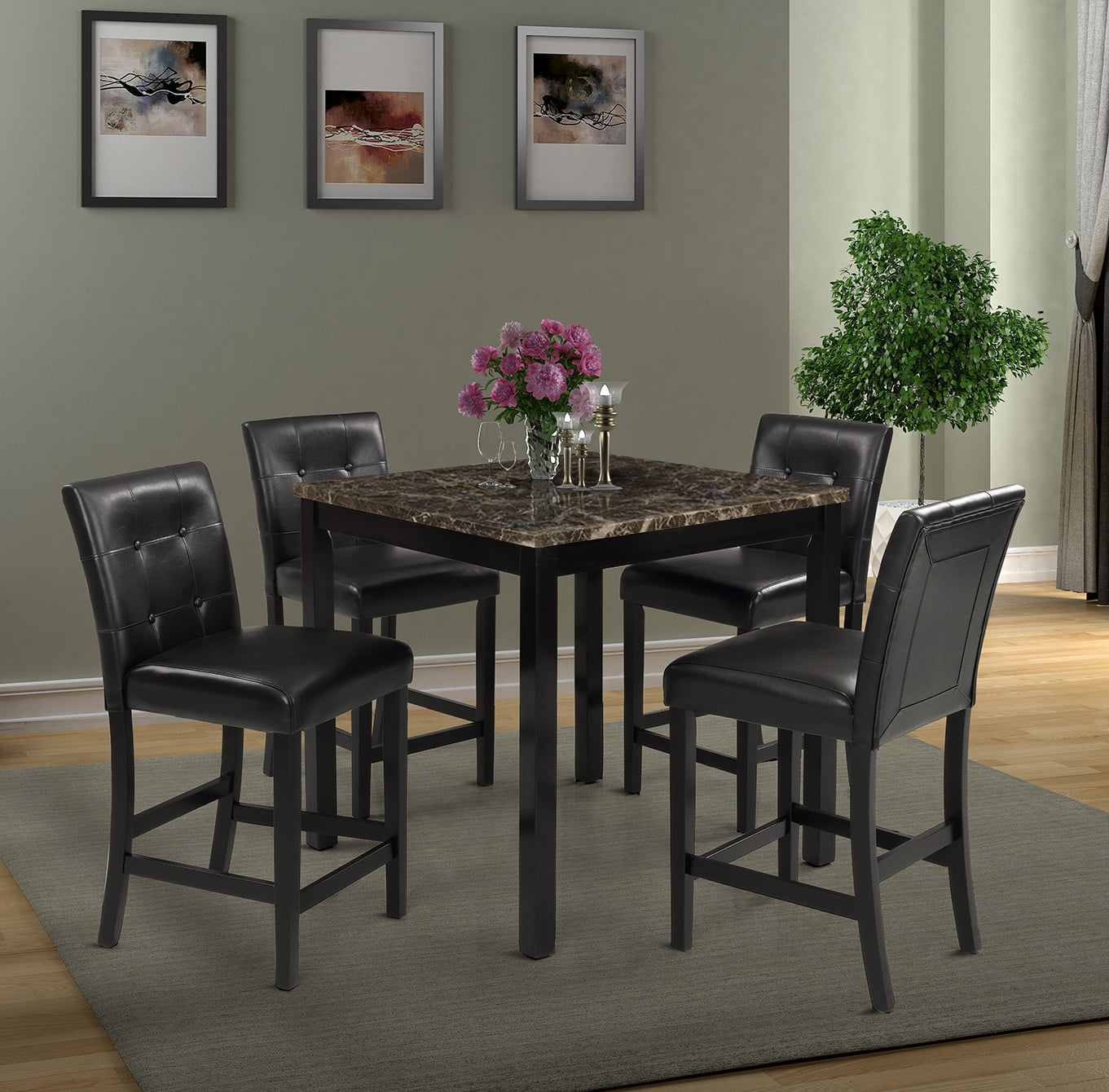 Harper Bright Designs 5 Piece Counter Height Dining Set With Faux Marble Table Top Multiple Colors Walmart Com Walmart Com
