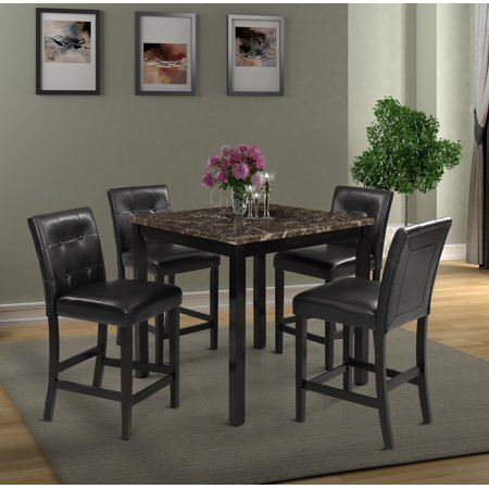Harper & Bright Designs 5 Piece Counter Height Dining Set With Faux Marble Table Top, Multiple Colors 5 Piece Counter Height Table