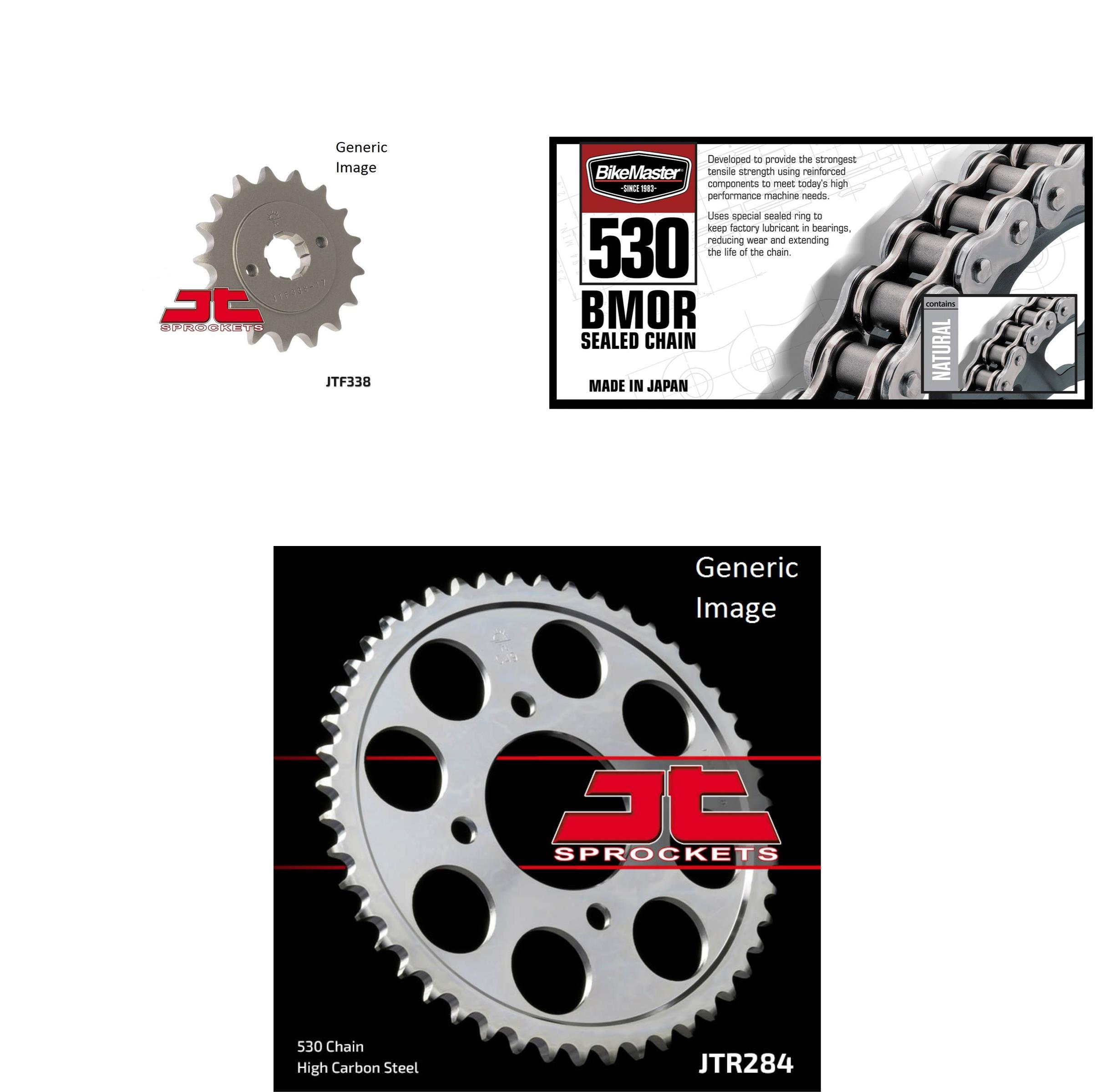 BIKEMASTER 530 BMOR Sealed Chain Natural, JT Front & Rear Sprocket Kit for Street HONDA CB650 1980-1981
