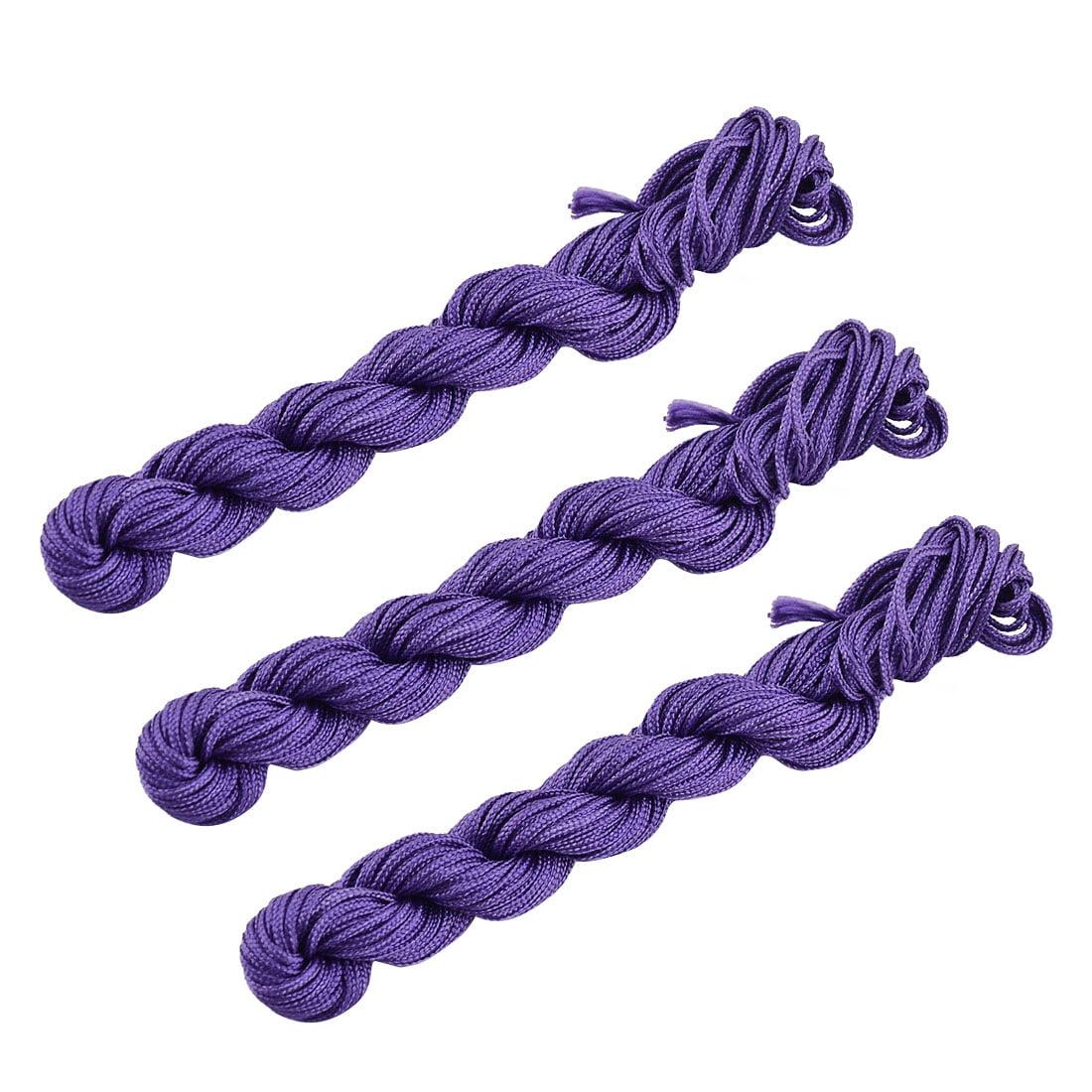 Polyester Chinese Knot Bracelet Beading Rattail Cord Dark Purple 16 Yards 3pcs - image 2 de 2