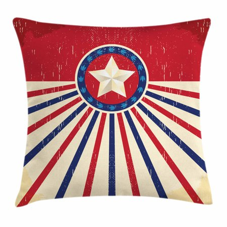 Texas Star Throw Pillow Cushion Cover, Vintage Stripes and Grunge Liberty and Freedom Themed USA Image, Decorative Square Accent Pillow Case, 18 X 18 Inches, Vermilion Beige Navy Blue, by Ambesonne