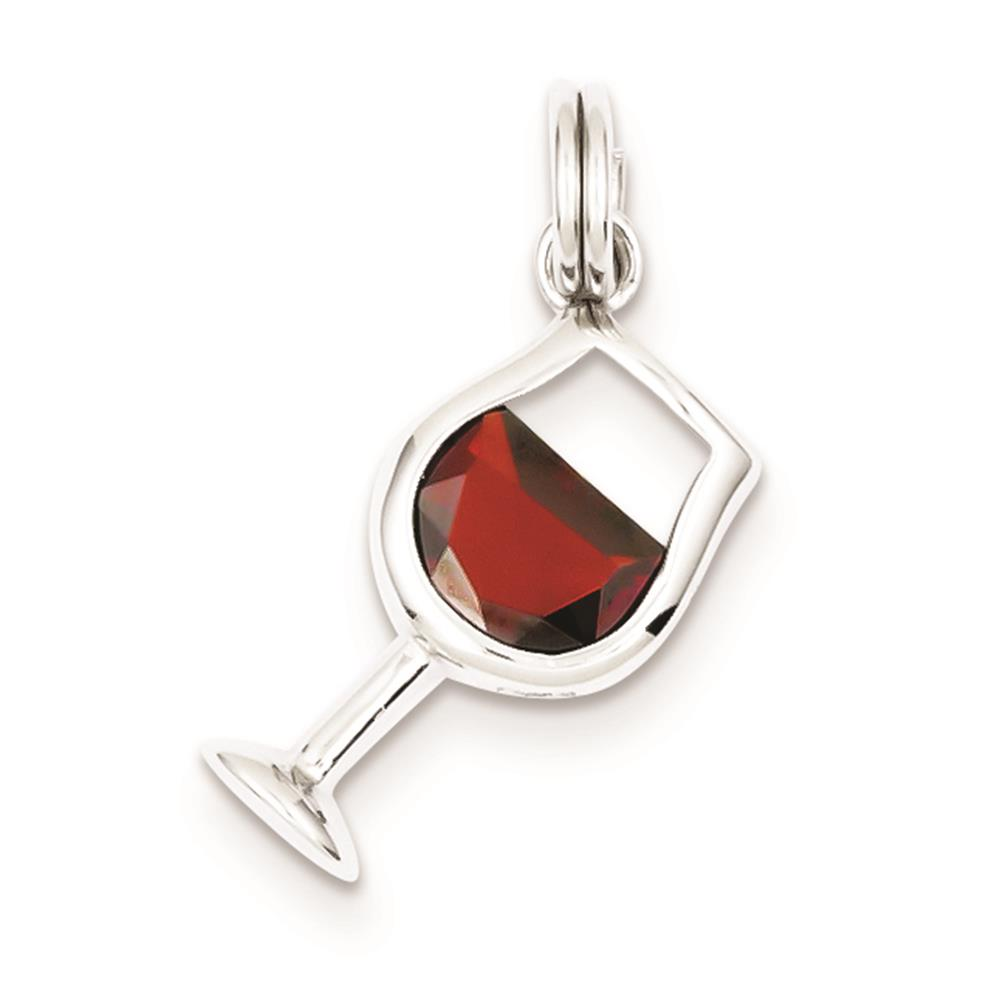 925 Sterling Silver Red CZ Wine Glass Solid Polished Charm Pendant