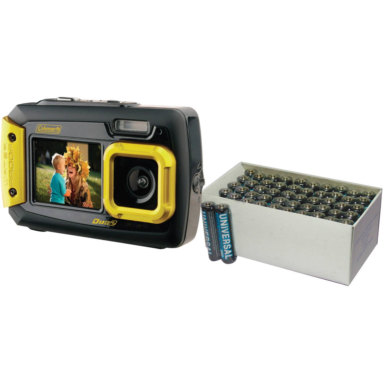 Coleman Yellow Duo2 Dual-Screen Waterproof Digital Camera with 20 Megapixels and UPG 50-Pack AAA Batteries