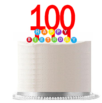 Item#100WCD - Happy 100th Birthday Party Red Cake Topper & Rainbow Candle Stand Elegant Cake Decoration Topper Kit
