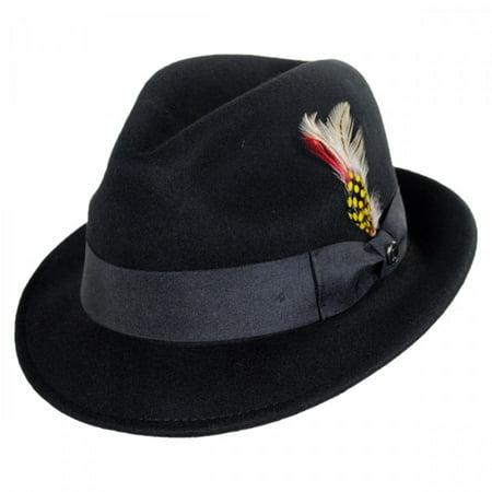 Jaxon Hats - Blues Crushable Wool Felt Trilby Fedora Hat - M - Black ... 1883cea0b7f