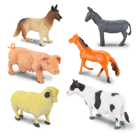 KingSo 6 Pcs Model Farm Animal Figures Toy Pig Dog Cow Sheep Horse Donkey Educational Simulated Animal for Kids Gift](Rubber Donkey Toy)