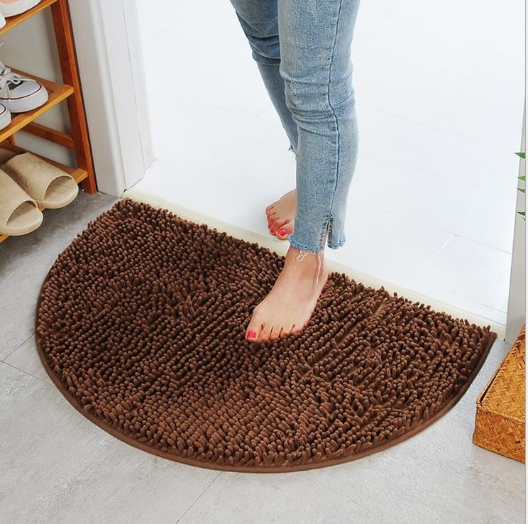 CarPet Door Mat Bedroom Kitchen Living Room Microfiber Bathroom Door Anti-Slip Mat Floor Mat Color : Brown, Size : 4060cm
