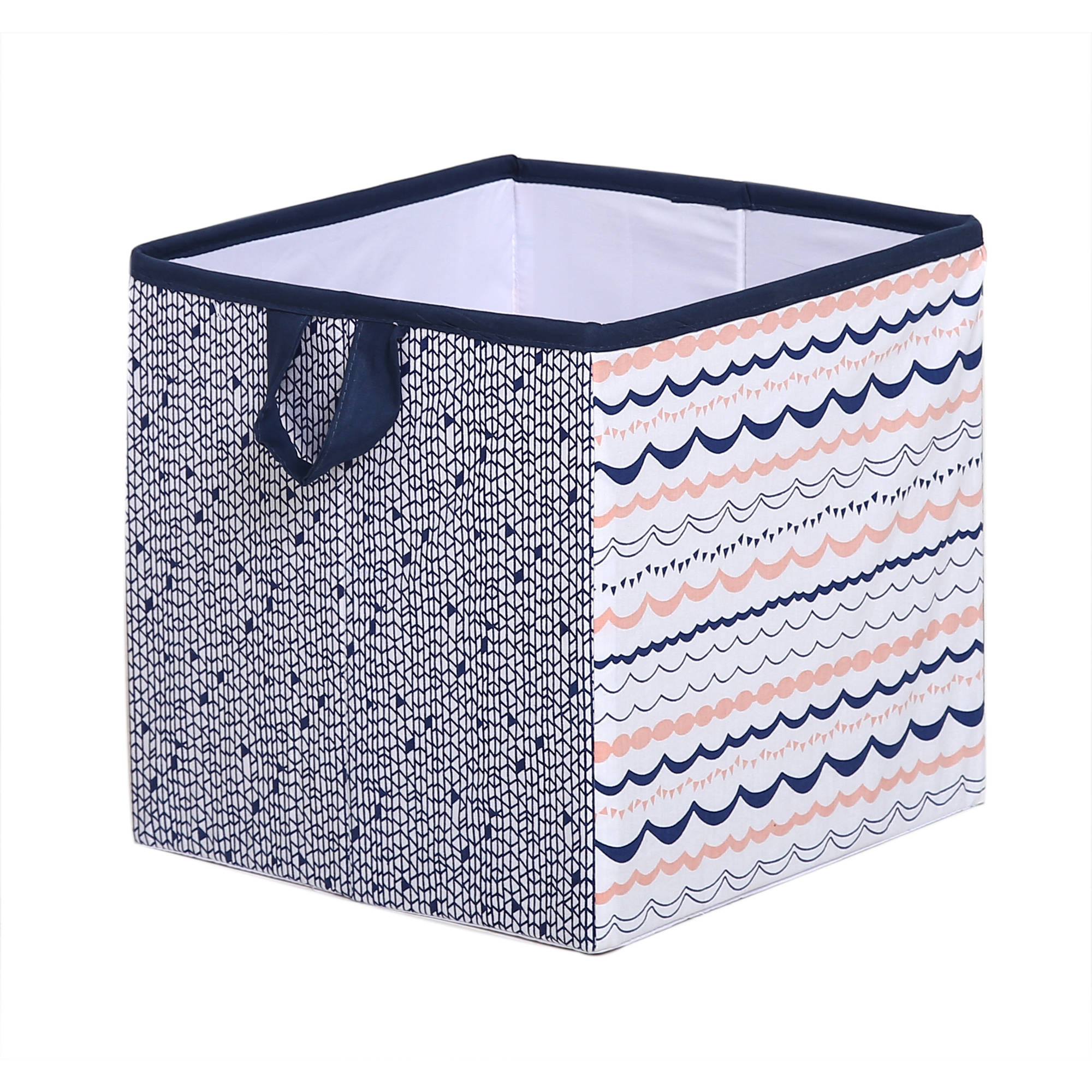 Bacati - Tribal Olivia Coral/Navy Cotton Percale Fabric covered Storage, Small Box, 10 L  x 10 W x 10 H inches