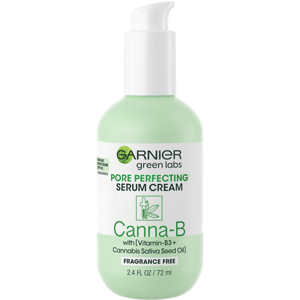 Garnier Green Labs Canna-B Pore Perfecting Serum Cream, Fragrance Free, with SPF 30 and Niacinamide Vitamin B3 + Cannabis Sativa Seed Oil, 2.4 fl. oz.