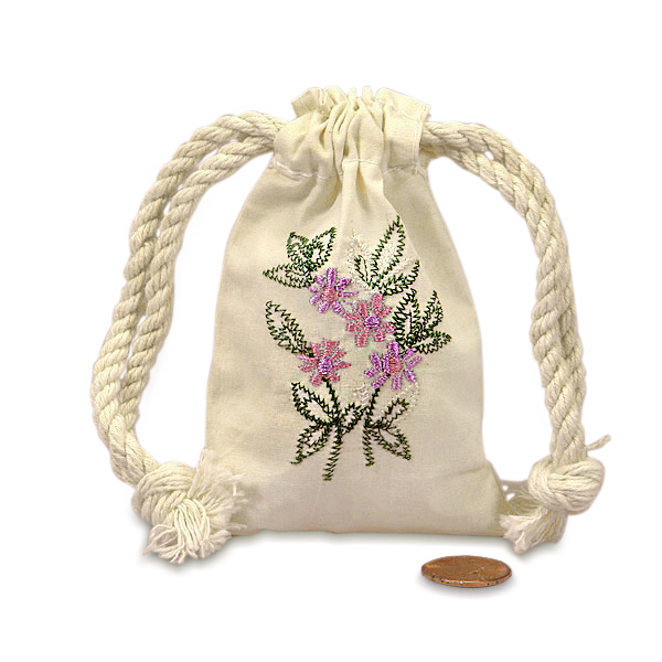 "Pink Phlox Mini Embroidered Muslin Pouch 3"" X 5"" 