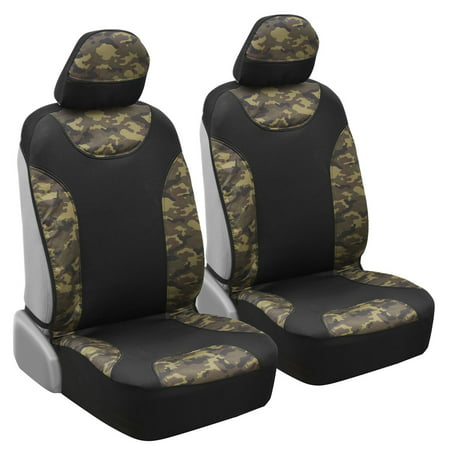 Camo Seat Covers for Truck Car SUV - Two Tone Black & Camouflage Sideless Front Auto Seat Protectors, Camouflage