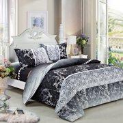Swanson Beddings Black Floral 3pc Duvet Bedding Set: Duvet Cover and Two Pillowcases (King)