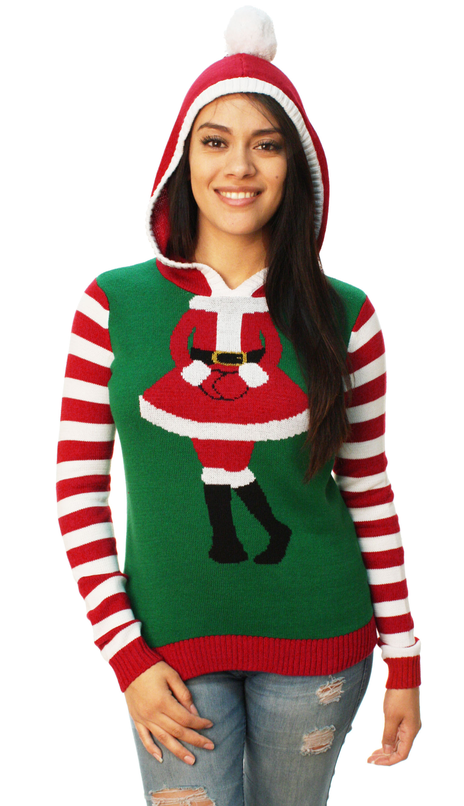 Ugly Christmas Sweater Women's Cute Santa Girl Hooded Sweater
