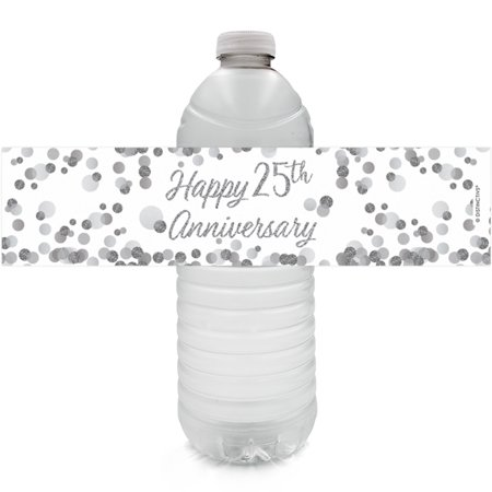 25th Anniversary Water Bottle Labels 24ct - Silver 25th Anniversary Party Supplies 25th Wedding Anniversary Decorations Party Favors - 24 Count Sticker Labels - 25th Anniversary Silver