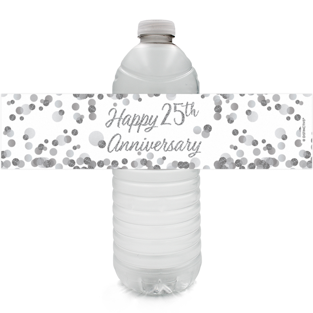 25th Anniversary Water Bottle Labels 24ct - Silver 25th Anniversary Party Supplies 25th Wedding Anniversary Decorations Party Favors - 24 Count Sticker Labels