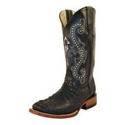 Ferrini Western Boots Womens Caiman Croc Gator Black 90393-04