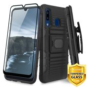 TJS Phone Case for Samsung Galaxy A50/Galaxy A30/Galaxy A20, with [Tempered Glass Screen Protector] Belt Clip Holster Magnetic Support Hybrid Kickstand Cover (Black)