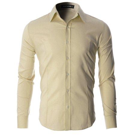 6bb692dc8af FLATSEVEN - FLATSEVEN Men s Slim Fit Casual Button Down Dress Shirt Long  Sleeve (SH600) - Walmart.com
