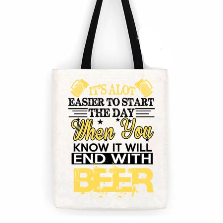 End With Beer Cotton Canvas Tote Carry All Day Bag