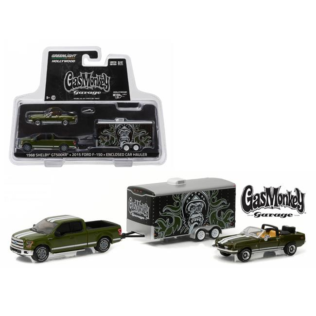 Greenlight 31010A 1 by 64 Scale Diecast 2015 Ford F-150 Green & 1968 Shelby GT500KR Convertible Green with Enclosed Car Hauler Model Cars