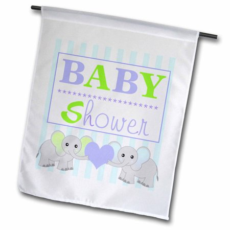 Image of 3dRose BABY Shower - Cute Twin Elephants Green and Blue - Garden Flag, 12 by 18-inch