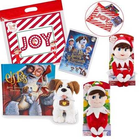 The Elf on the Shelf Saint Bernard Christmas Set, with Elf Pets Saint Bernard Tradition, Santas St. Bernards Save Christmas DVD Movie, and Boy Elf Plush with Exclusive Joy Travel