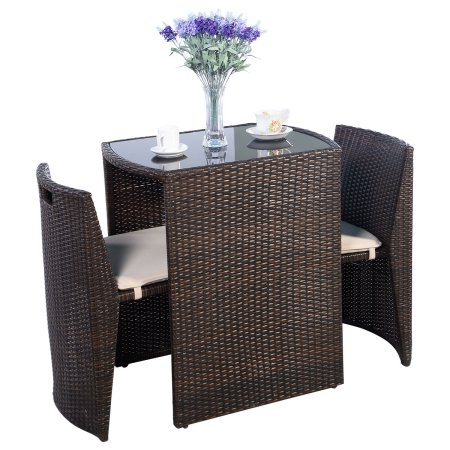 Costway 3 PCS Cushioned Outdoor Wicker Patio Set Garden Lawn Sofa