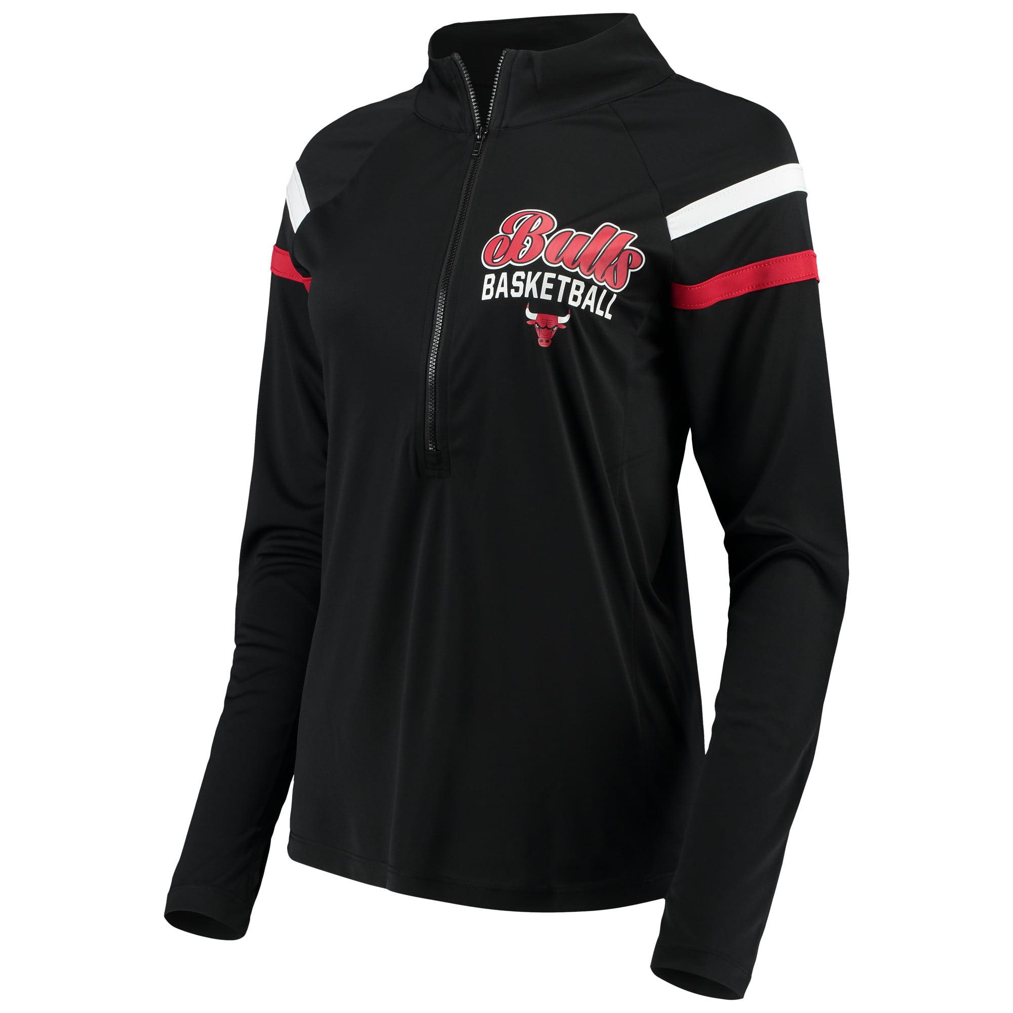Women's 5th & Ocean by New Era Black Chicago Bulls Pullover Half-Zip Thumb Holes Jacket