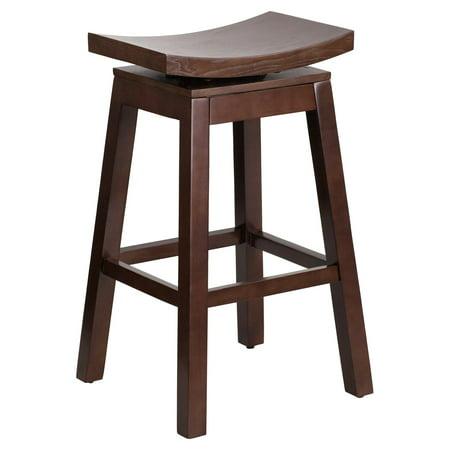 Flash Furniture 30'' High Saddle Seat Cappuccino Wood Barstool with Auto Swivel Seat Return 30 Inch Swivel Wood