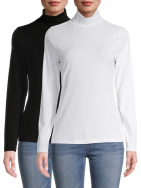 Time and Tru Women's Turtleneck T-Shirt, 2 Pack Bundle