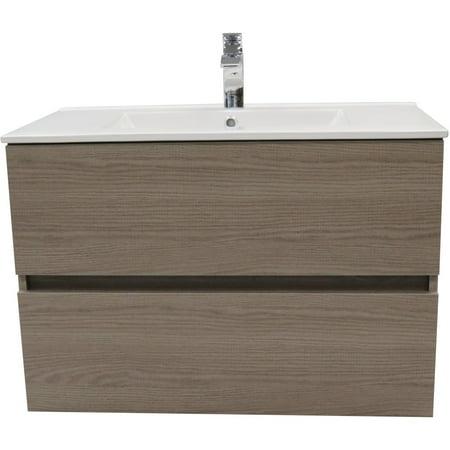 32 Bath Vanity - Surf Wall Mounted Bathroom Vanity Cabinet Set Bath Furniture With Single Sink  (Estepa)