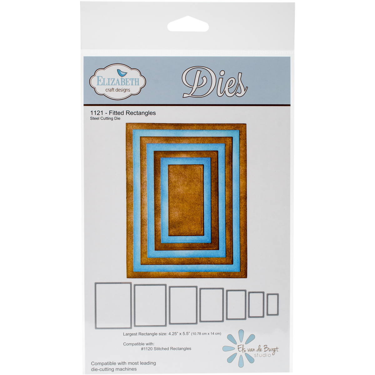 "Elizabeth Craft Metal Die-Fitted Rectangles, 4.25""X5.5"" Largest"