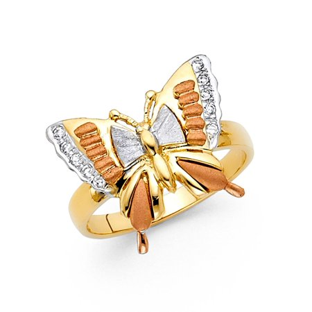 (Butterfly Ring CZ Solid 14k Yellow White Rose Gold Band Stylish Satin & Polished Fancy Tri Color)
