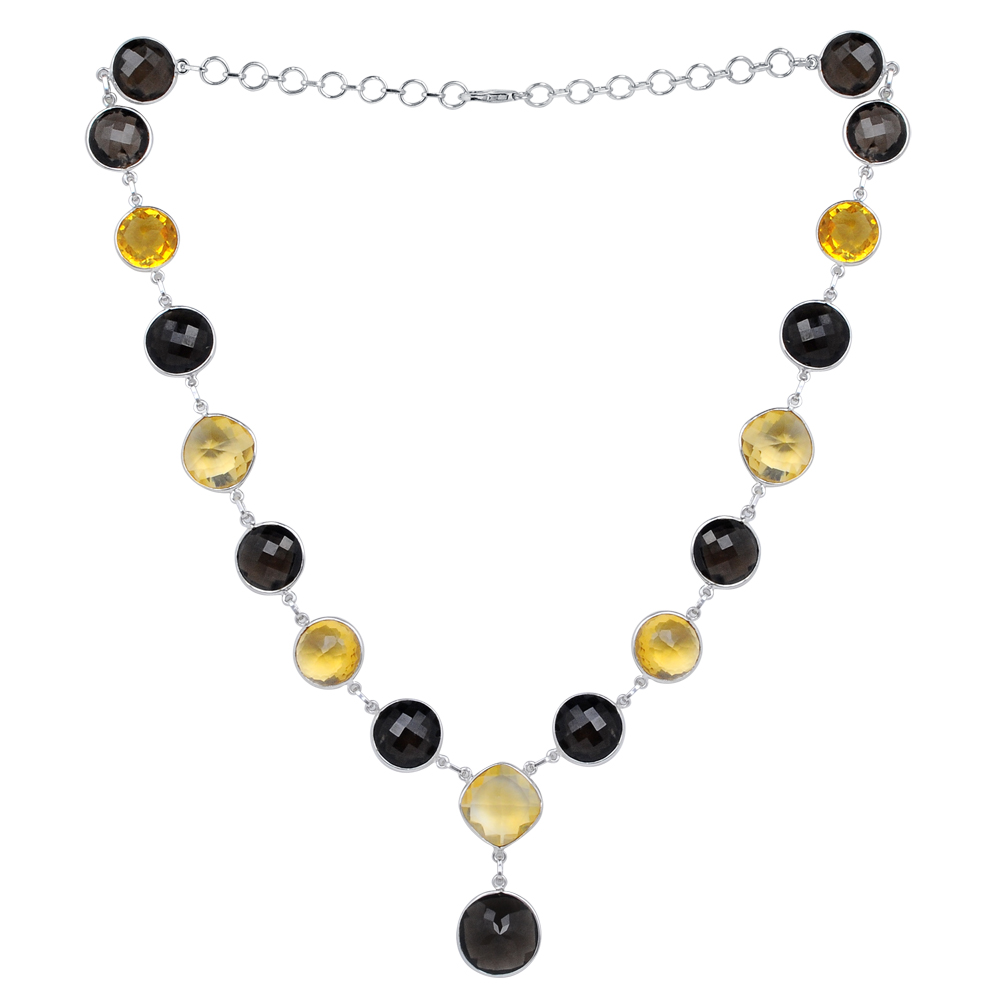 Orchid Jewelry 118 1 4 Carat Smoky Quartz and Citrine Sterling Silver Handmade Necklace Jewelry by Orchid Jewelry Mfg Inc