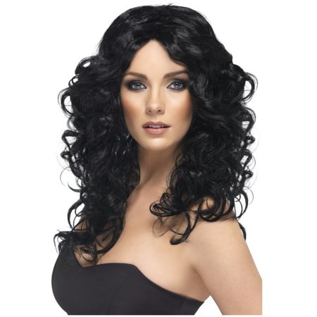 Adult's Womens  Glamour Long Black Curly Wig Costume Accessory